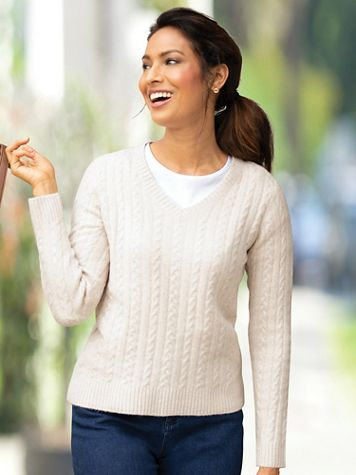 Windsor V-Neck Cable Sweater - Image 1 of 4