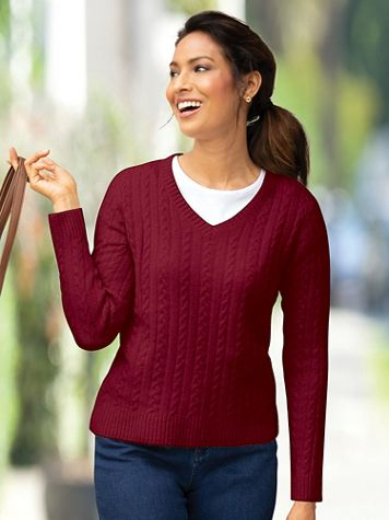 Windsor V-Neck Cable Sweater - Image 1 of 3