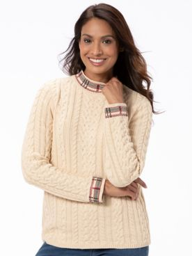 Plaid-Trim Cable Mockneck Sweater