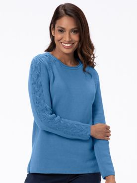 Cotton Cable-Sleeve Rollneck Sweater