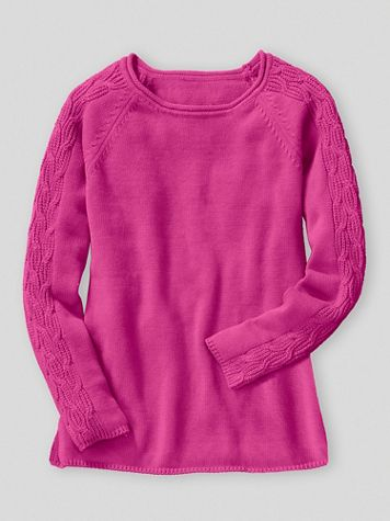 Cotton Cable-Sleeve Rollneck Sweater - Image 1 of 1