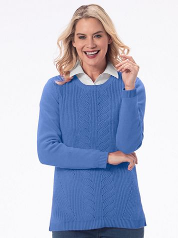Leaf Cable-Front Cotton-Blend Sweater - Image 1 of 5