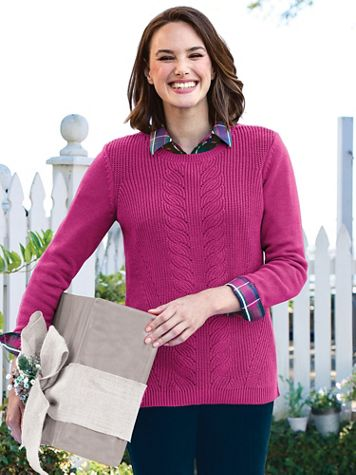 Leaf Cable-Front Cotton-Blend Sweater - Image 3 of 4
