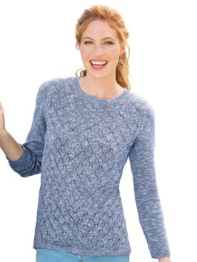 Marled Pointelle Bateau-Neck Sweater
