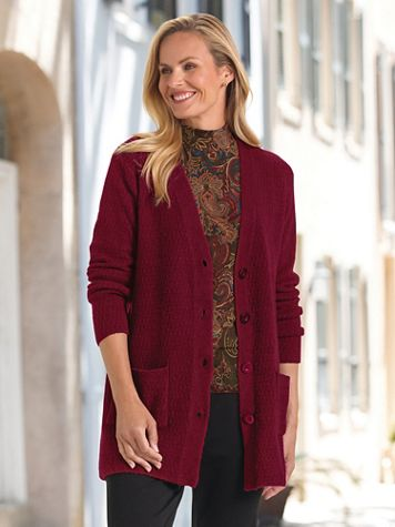 Twist-Stitch Long Button-Front Cardigan Sweater - Image 3 of 4