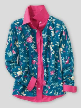 Moonlit Floral-Print Cotton Cardigan
