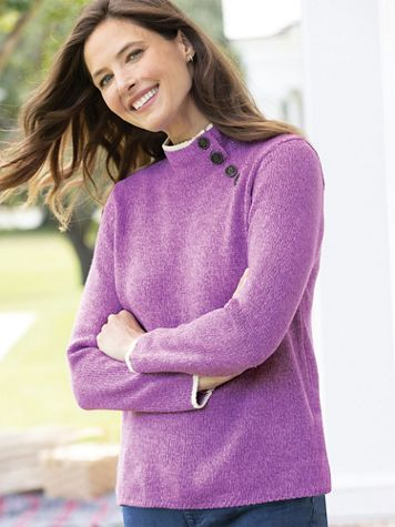 Marled Tipped Side-Button Henley Sweater - Image 1 of 9