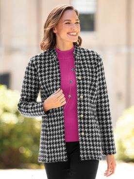 Houndstooth Check Boiled-Wool Jacket