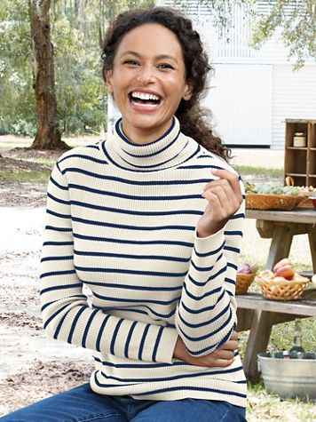 Striped Cotton Rib Long-Sleeve Turtleneck - Image 1 of 5