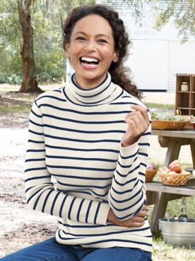 Striped Cotton Rib Long-Sleeve Turtleneck