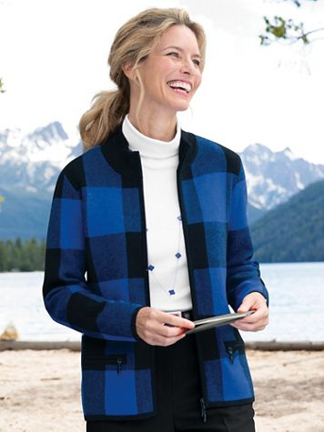 Buffalo Check Zip-Front Long-Sleeve Cardigan - Image 1 of 1