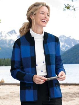 Buffalo Check Zip-Front Long-Sleeve Cardigan