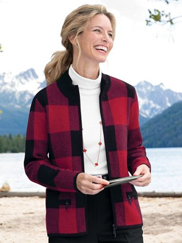 Buffalo Check Zip-Front Long-Sleeve Cardigan - Image 0 of 2