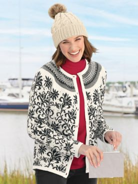 Limited-Edition Poinsettia Jacquard Cardigan Sweater