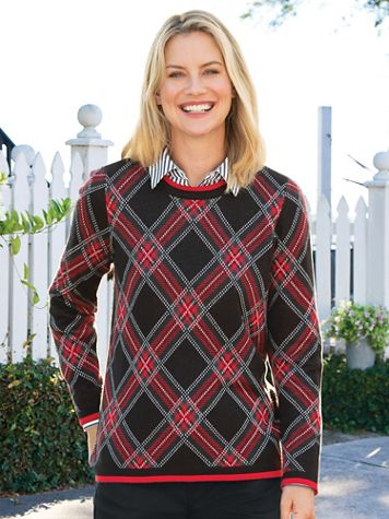 Bias Plaid Jacquard Sweater - Image 0 of 2