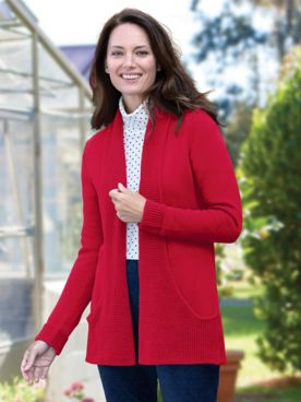 Infinity Pocket Open-Front Long-Sleeve Cardigan