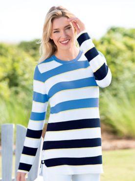 Striped Curved-Hem Sweater