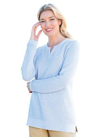 Heathered Split-Neck Sweater - Image 1 of 4