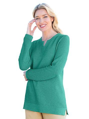 Heathered Split-Neck Sweater - Image 3 of 4