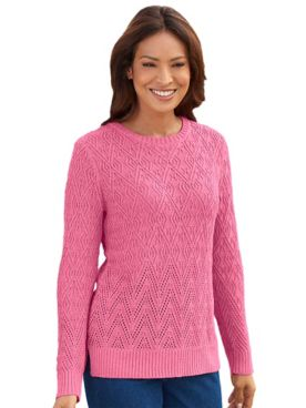 Heathered Diamond-Stitch Sweater