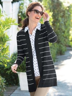 Striped Madison Fine-Gauge Cardigan Sweater