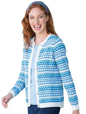 Mixed-Stitch Stripe Cardigan Sweater