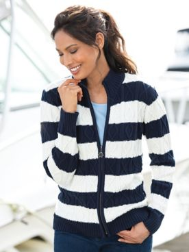 Zip-Front Cable Stripe Cardigan