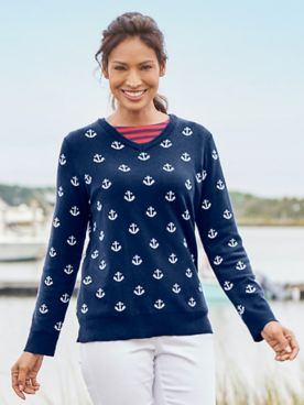Anchors Aweigh V-Neck Sweater