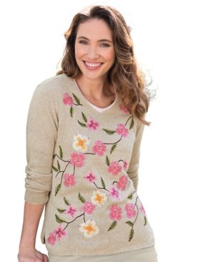 Limited-Edition Wildflower V-Neck Sweater