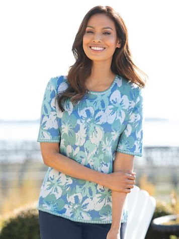 Tropical Jacquard Elbow-Sleeve Sweater - Image 3 of 3