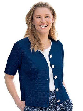 Elbow-Sleeve Cotton Cardigan - Image 1 of 6