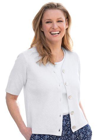 Elbow-Sleeve Cotton Cardigan - Image 1 of 2