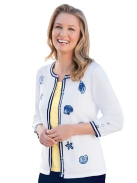 Seashell-Embroidered Cardigan