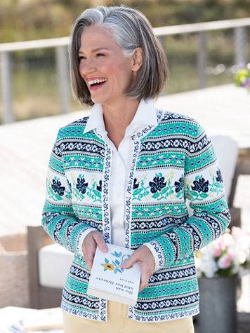 Limited-Edition Spring Floral Cardigan Sweater - Image 4 of 4