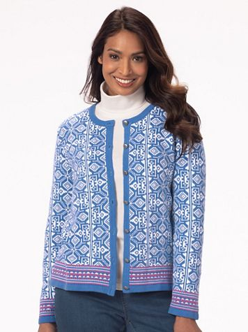Diamond Jacquard Cardigan Sweater - Image 1 of 5