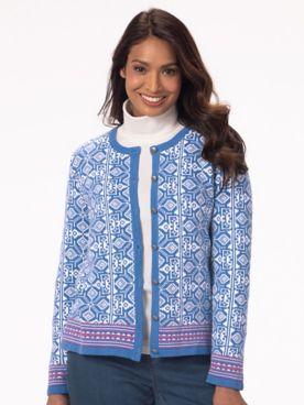 Diamond Jacquard Cardigan Sweater