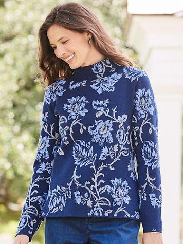 Floral Jacquard Mockneck Sweater - Image 1 of 2