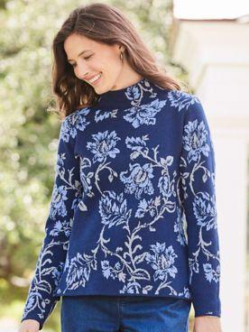 Floral Jacquard Mockneck Sweater