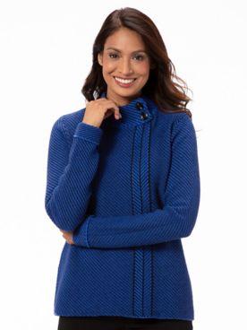 Cotton Blend Button Mockneck Sweater