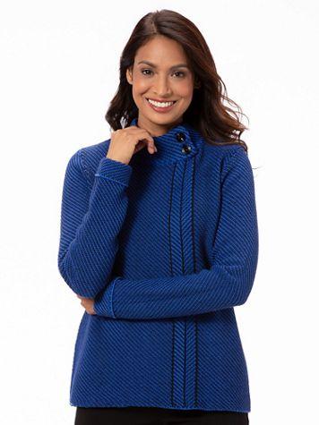 Cotton Blend Button Mockneck Sweater - Image 2 of 2