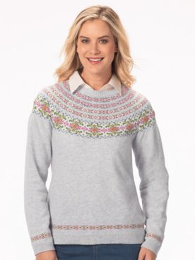 Limited Edition Floral Fair Isle Crewneck Sweater