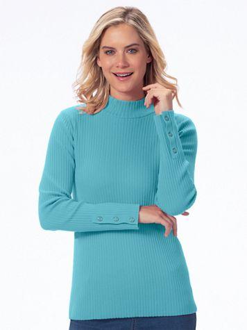 Silk-Blend Button-Detail Long Sleeve Mockneck - Image 1 of 9