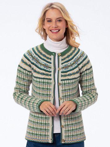 Limited-Edition Plaid Fair Isle Cardigan Sweater - Image 2 of 2