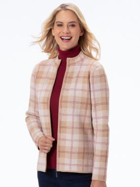 Plaid Mockneck Zip Cardigan Sweater