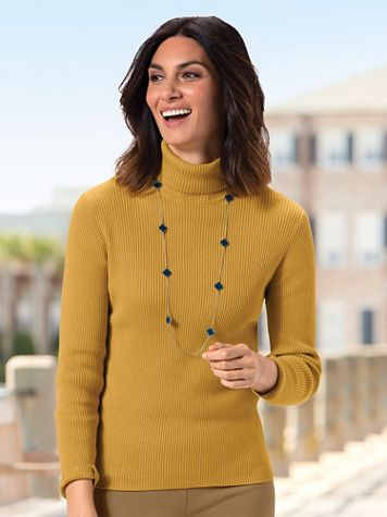 Ribbed Cotton Turtleneck Sweater - Image 1 of 13