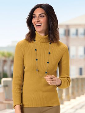Ribbed Cotton Turtleneck Sweater