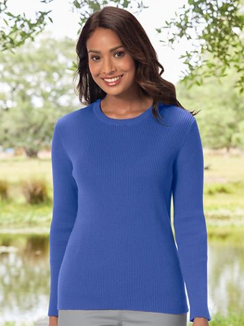 Ribbed Cotton Crewneck Sweater - Image 1 of 13
