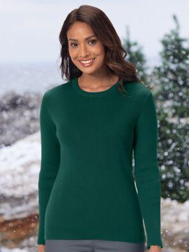 Ribbed Cotton Crewneck Sweater