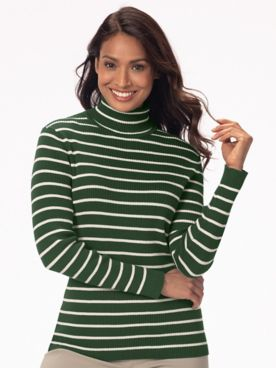 Striped Ribbed Cotton Turtleneck Sweater