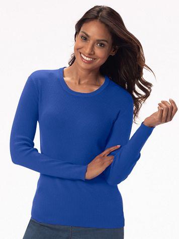 Silk-Blend Jewelneck Sweater - Image 1 of 4